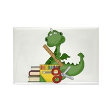 Back To School Dragon Rectangle Magnet