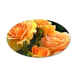 Romantic Peach Roses 35x21 Oval Wall Decal
