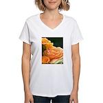 Romantic Peach Roses Women's V-Neck T-Shirt