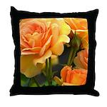 Romantic Peach Roses Throw Pillow