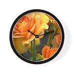 Romantic Peach Roses Wall Clock