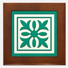 Quilt Patch (Teal) Framed Tile