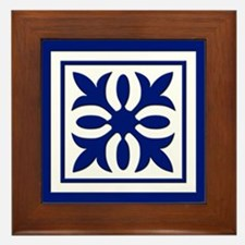 Quilt Patch (Navy) Framed Tile