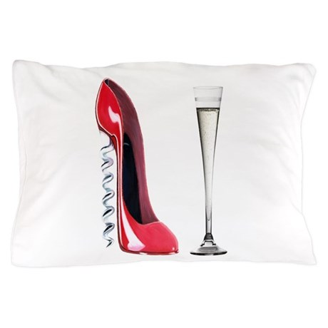 Corkscrew Red Stiletto and Champagne Art Pillow Ca