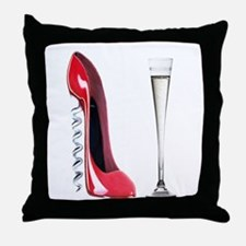 Corkscrew Red Stiletto and Champagne Art Throw Pil