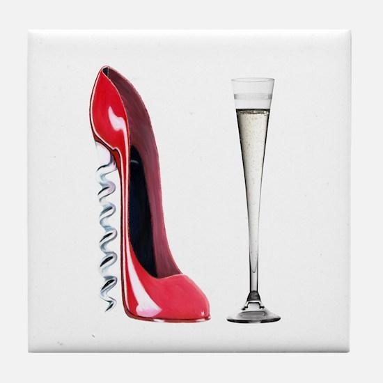 Corkscrew Red Stiletto and Champagne Art Tile Coas