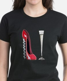 Corkscrew Red Stiletto and Champagne Art Tee