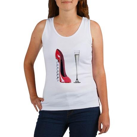 Corkscrew Red Stiletto and Champagne Art Women's T