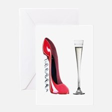 Corkscrew Red Stiletto and Champagne Art Greeting