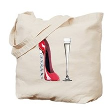 Corkscrew Red Stiletto and Champagne Art Tote Bag