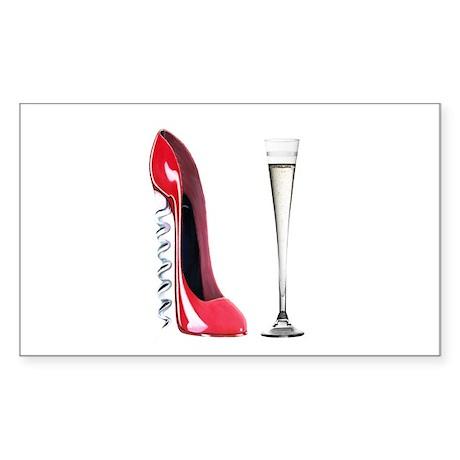Corkscrew Red Stiletto and Champagne Art Sticker (