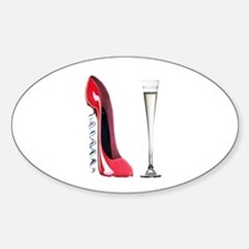 Corkscrew Red Stiletto and Champagne Art Decal