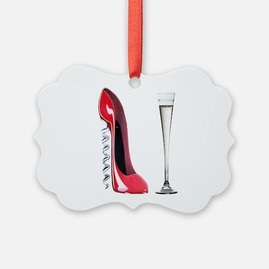 Corkscrew Red Stiletto and Champagne Art Ornament