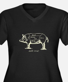 Eat Me Pork Light Women's Plus Size V-Neck Dark T-
