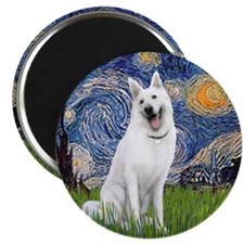 Starry-White German Shepherd Magnet