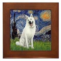 Starry-White German Shepherd Framed Tile