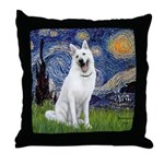 Starry-White German Shepherd Throw Pillow