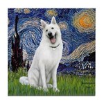 Starry-White German Shepherd Tile Coaster