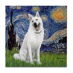 Starry-White German Shepherd Tile Coaster