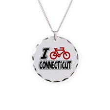 I Love Cycling Connecticut Necklace