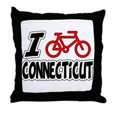 I Love Cycling Connecticut Throw Pillow