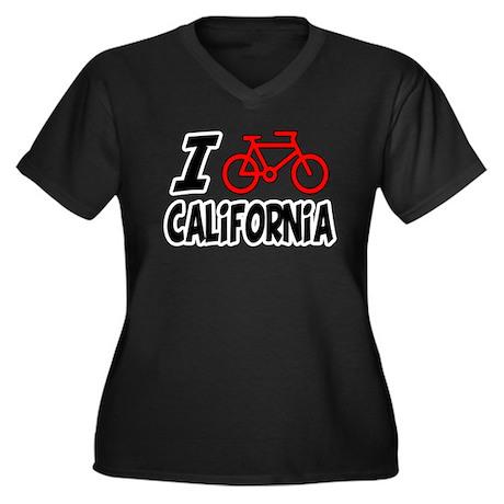 I Love Cycling California Women's Plus Size V-Neck
