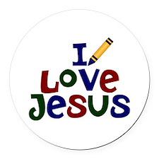 I Love Jesus Round Car Magnet