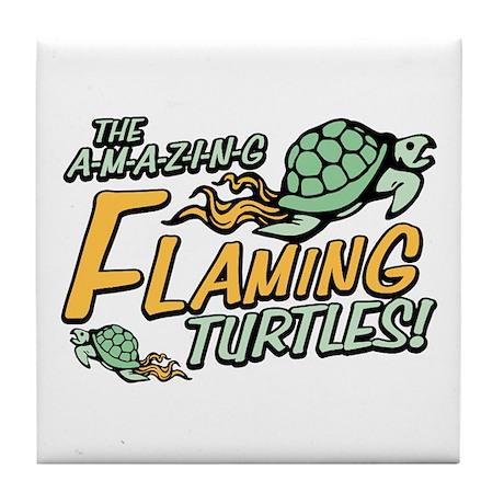 Amazing Flaming Turtles Tile Coaster