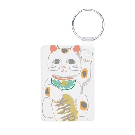 Japanese Lucky Cat Aluminum Photo Keychain