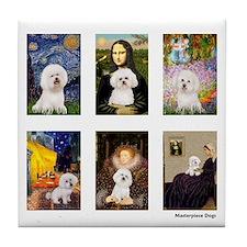 Famous Art Bichon (clr) Tile Coaster