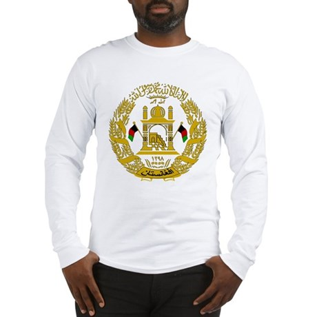 Afghanistan coat of arms long sleeve t shirt for Shirts for men with long arms