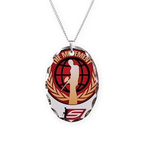 Social Paintball - Emblem Gold Necklace Oval Charm