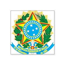 "Brazil Coat Of Arms Square Sticker 3"" x 3"""