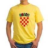 Croatia Mens Yellow T-shirts