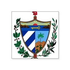 "Cuba Coat Of Arms Square Sticker 3"" x 3"""