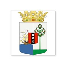 """Curacao Coat Of Arms Square Sticker 3"""" x 3"""""""
