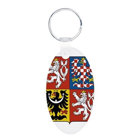 Czech Republic Coat Of Arms Aluminum Oval Keychain
