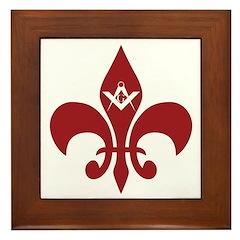 Masonic Fleur de Lis Framed Tile