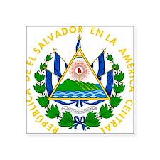 """El Salvador Coat Of Arms Square Sticker 3"""" x 3"""""""