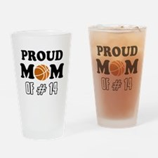Cool Basketball Mom of number 14 Drinking Glass