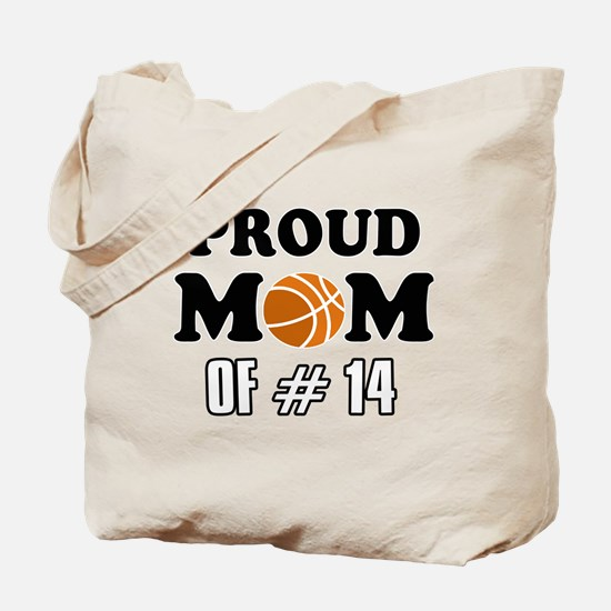 Cool Basketball Mom of number 14 Tote Bag