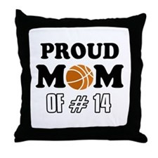 Cool Basketball Mom of number 14 Throw Pillow