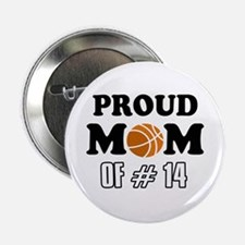 """Cool Basketball Mom of number 14 2.25"""" Button"""