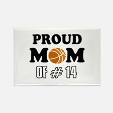 Cool Basketball Mom of number 14 Rectangle Magnet