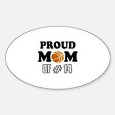 Cool Basketball Mom of number 14 Sticker (Oval)