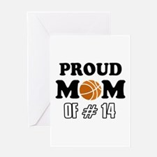 Cool Basketball Mom of number 14 Greeting Card