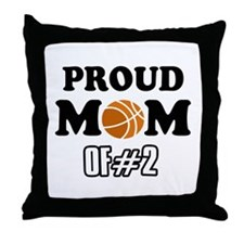 Cool Basketball Mom of number 2 Throw Pillow