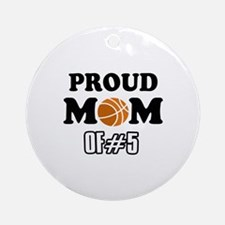 Cool Basketball Mom of number 5 Ornament (Round)
