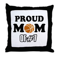 Cool Basketball Mom of number 7 Throw Pillow