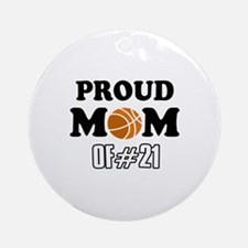 Cool Basketball Mom of number 21 Ornament (Round)